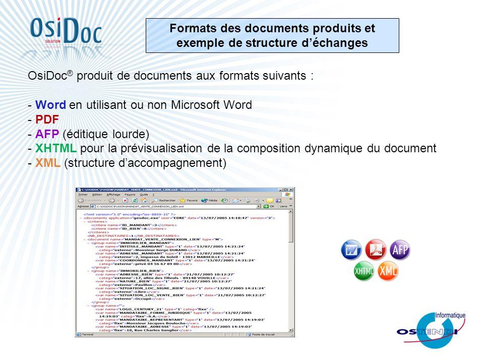 Formats des documents produits et exemple de structure déchanges OsiDoc ® produit de documents aux formats suivants : - Word en utilisant ou non Micro
