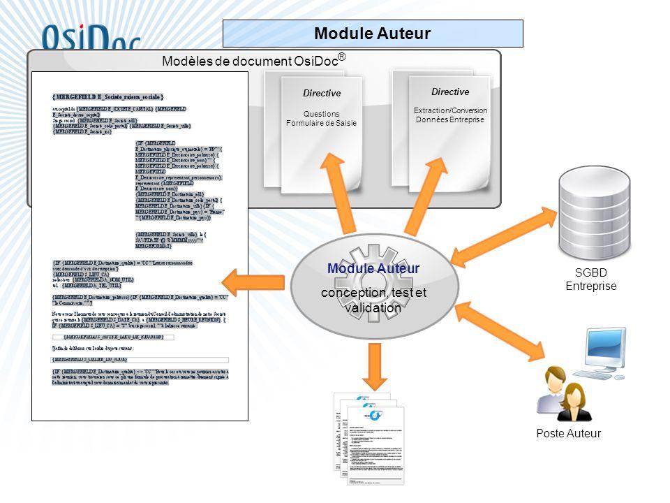 Module Auteur conception, test et validation Directive Extraction/Conversion Données Entreprise Directive Questions Formulaire de Saisie Modèles de do