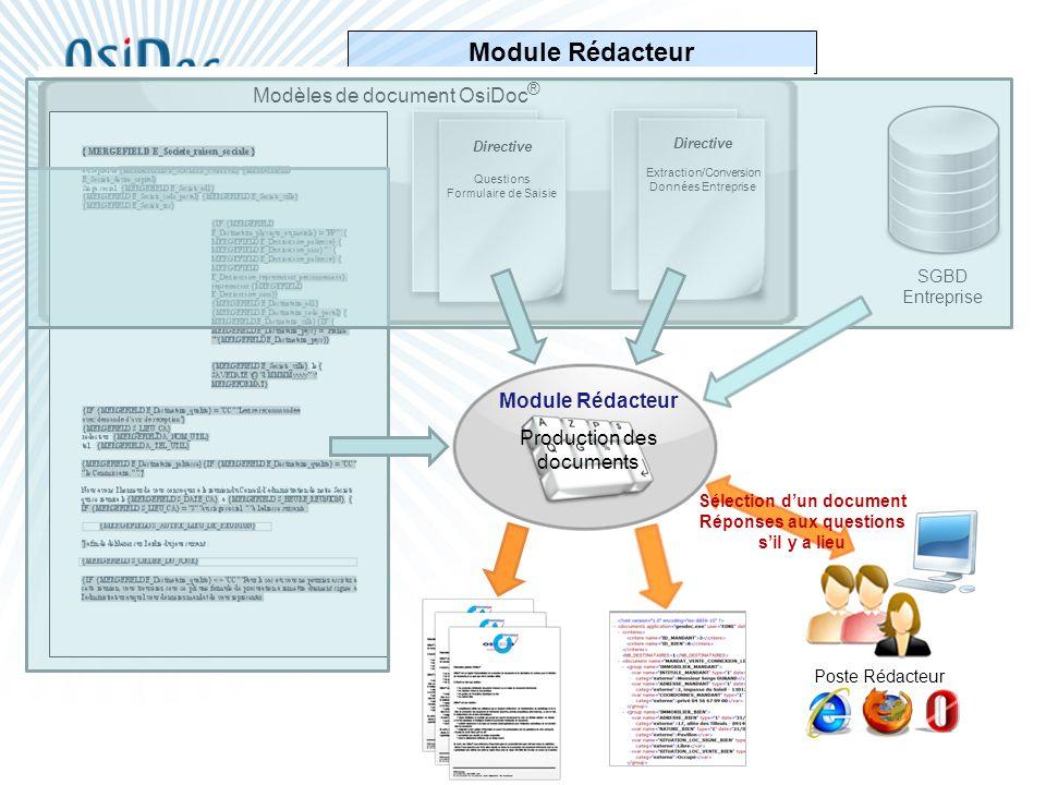 Module Rédacteur Directive Extraction/Conversion Données Entreprise Directive Questions Formulaire de Saisie Modèles de document OsiDoc ® SGBD Entrepr