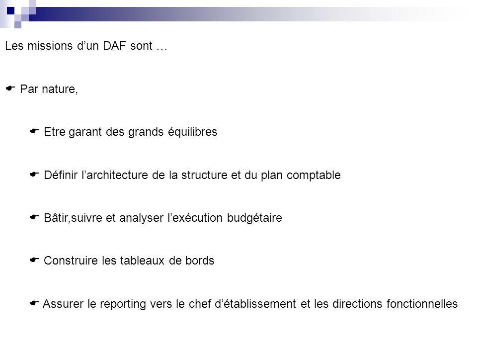 Les missions dun DAF sont … Par nature, Etre garant des grands équilibres Définir larchitecture de la structure et du plan comptable Bâtir,suivre et a
