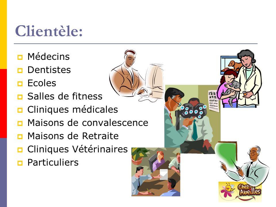 Clientèle: Médecins Dentistes Ecoles Salles de fitness Cliniques médicales Maisons de convalescence Maisons de Retraite Cliniques Vétérinaires Particu