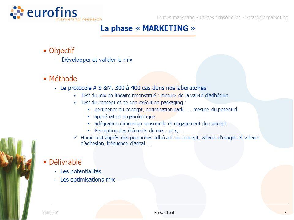 Etudes marketing - Etudes sensorielles - Stratégie marketing juillet 07 Prés. Client7 Objectif - Développer et valider le mix Méthode - Le protocole A