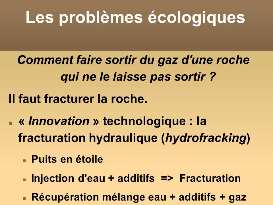 Les problèmes écologiques Comment faire sortir du gaz d'une roche qui ne le laisse pas sortir ? Il faut fracturer la roche. « Innovation » technologiq