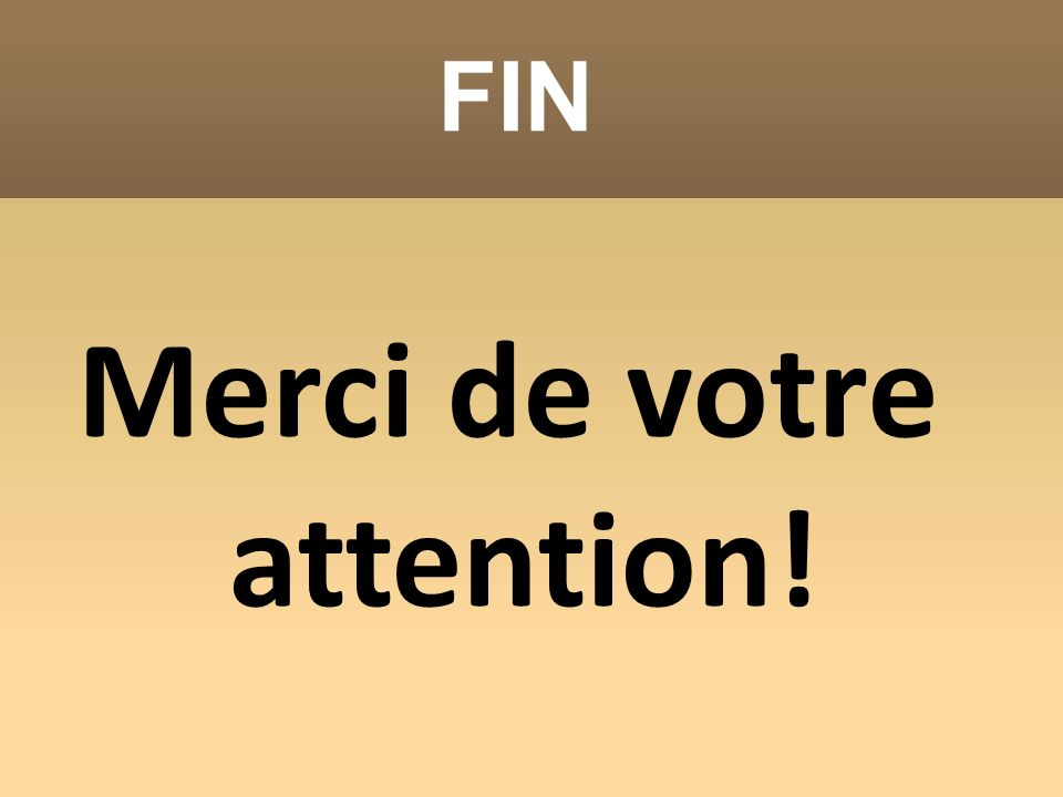 FIN Merci de votre attention!