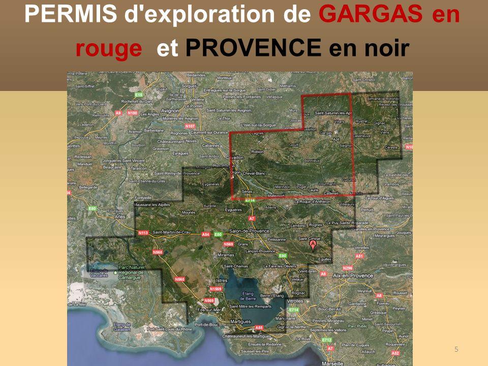Le permis de Provence, délivré à QUEENSLAND GAZ COMPANY couvre 3430 km², entre Arles, Avignon et Aix Le permis de GARGAS délivré à TETHIS OIL France Couvre 870 Km 2 Quelles superficies couvrent les 2 permis Vauclusiens?