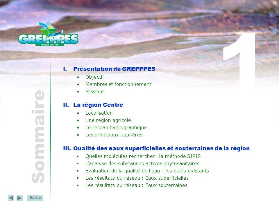 Sortie Sommaire I.Présentation du GREPPPES Objectif Membres et fonctionnement Missions II.La région Centre Localisation Une région agricole Le réseau