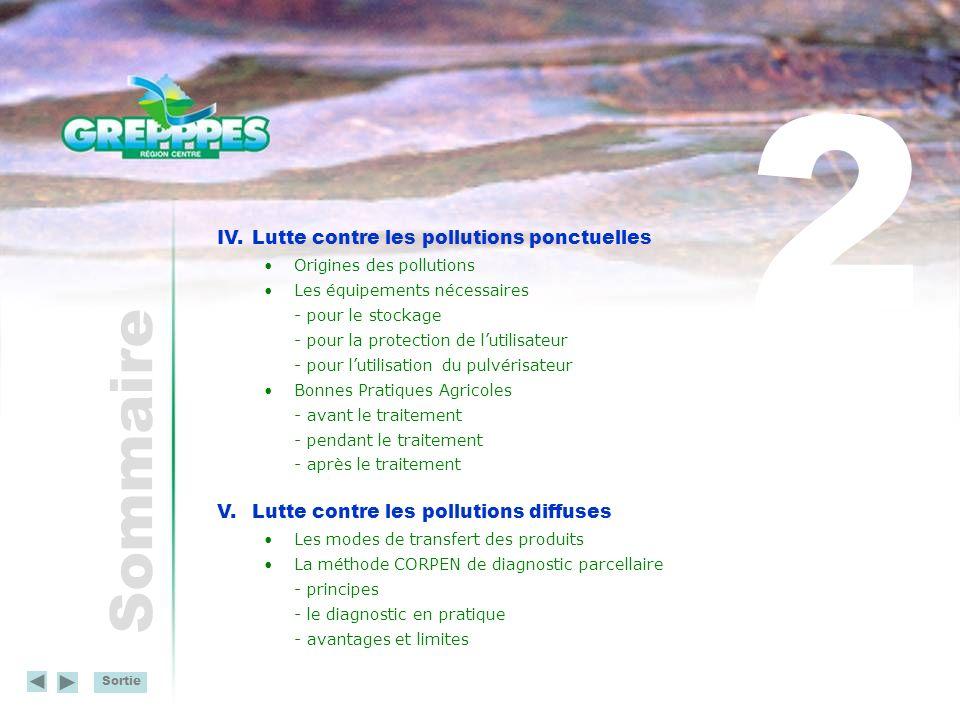 Sortie Sommaire V.Lutte contre les pollutions diffuses (suite) Solutions pour la réduction des pollutions diffuses - réduction de lutilisation des produits - limitation des transferts - choix des produits VI.Des exemples dactions menées dans la région Réseau de fermes de référence - présentation - diagnostic dexploitation - exemples daménagements Les plans dactions - Ouarville (Eure-et-Loir) - Pont de Saulay (Indre-et-Loire) - Ozanne (Eure-et-Loir) - Sidiailles (Cher) - Dhuy (Loiret) 3