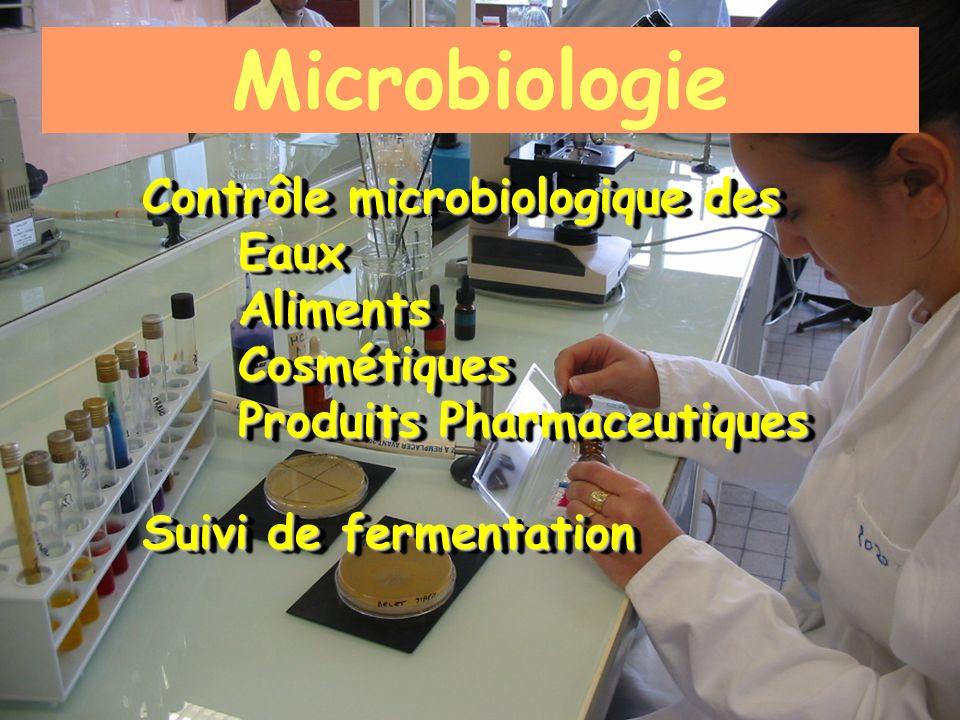 Microbiologie Contrôle microbiologique des EauxAlimentsCosmétiques Produits Pharmaceutiques Suivi de fermentation Contrôle microbiologique des EauxAli
