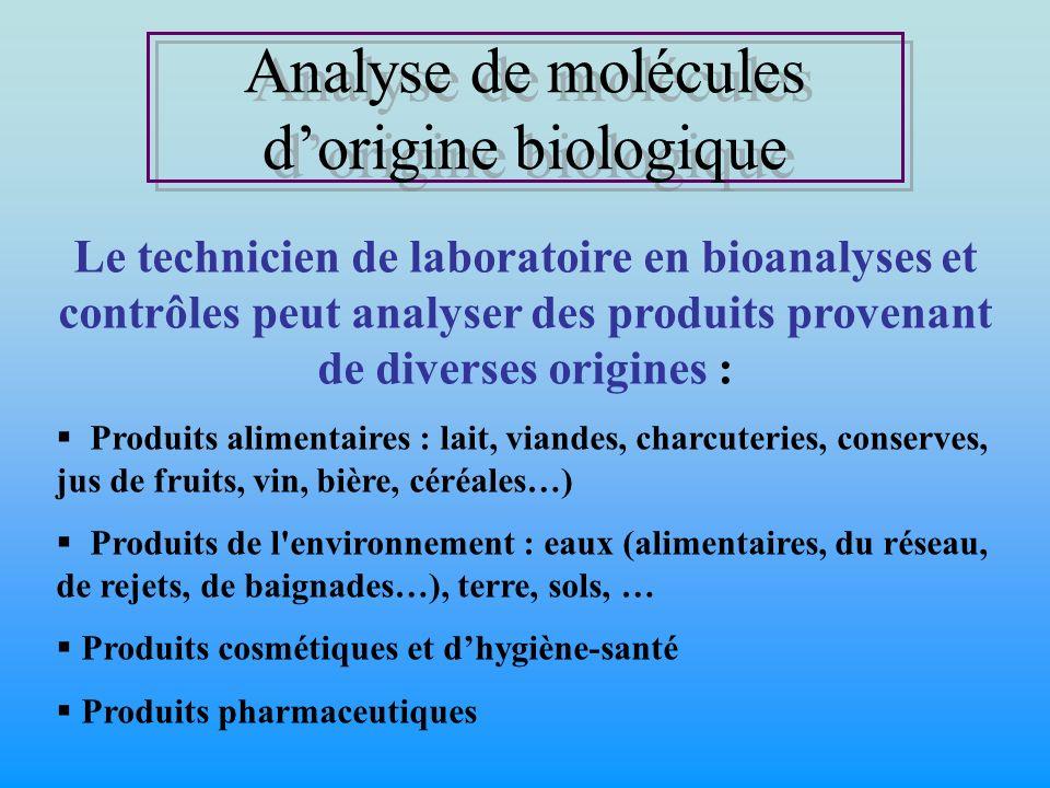Analyse de molécules dorigine biologique Analyse de molécules dorigine biologique Le technicien de laboratoire en bioanalyses et contrôles peut analys