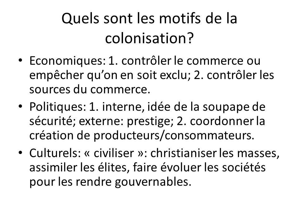 Quels sont les motifs de la colonisation. Economiques: 1.