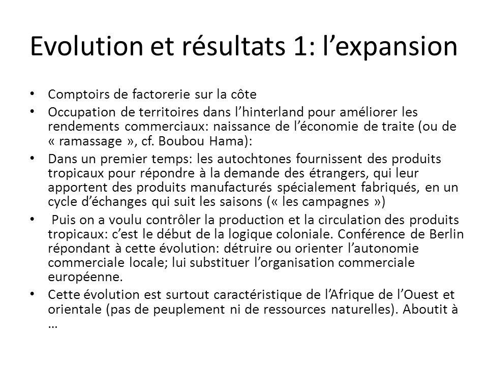 Evolution et résultats 1: lexpansion Comptoirs de factorerie sur la côte Occupation de territoires dans lhinterland pour améliorer les rendements commerciaux: naissance de léconomie de traite (ou de « ramassage », cf.