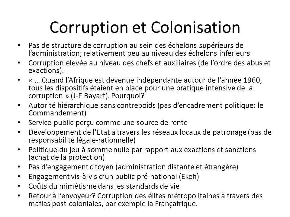 Corruption et Colonisation Pas de structure de corruption au sein des échelons supérieurs de ladministration; relativement peu au niveau des échelons inférieurs Corruption élevée au niveau des chefs et auxiliaires (de lordre des abus et exactions).