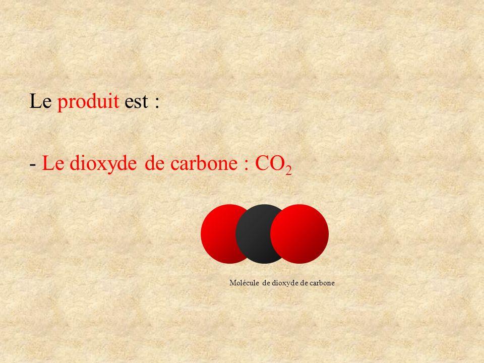 Le produit est : - Le dioxyde de carbone : CO 2 Molécule de dioxyde de carbone
