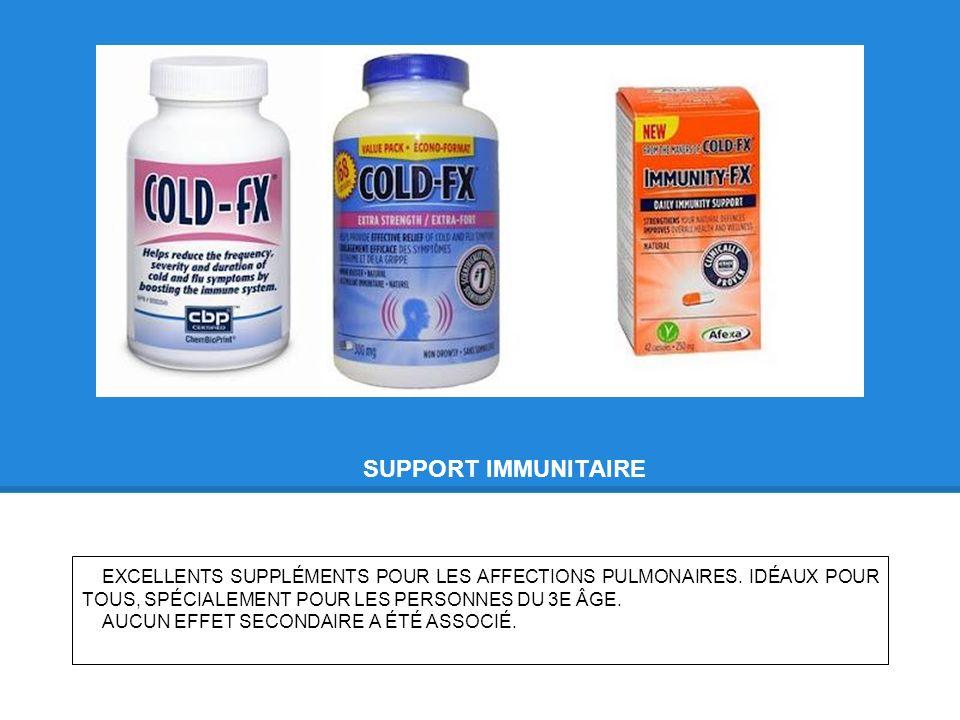SUPPORT IMMUNITAIRE EXCELLENTS SUPPLÉMENTS POUR LES AFFECTIONS PULMONAIRES.