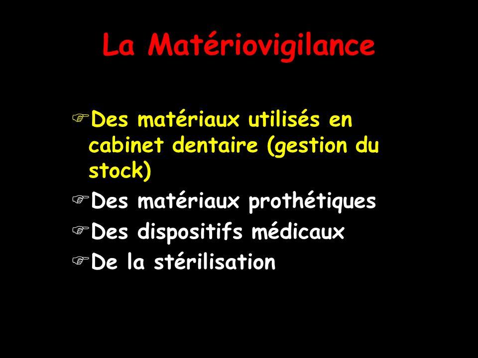 La Matériovigilance Des matériaux utilisés en cabinet dentaire (gestion du stock) Des matériaux prothétiques Des dispositifs médicaux De la stérilisat