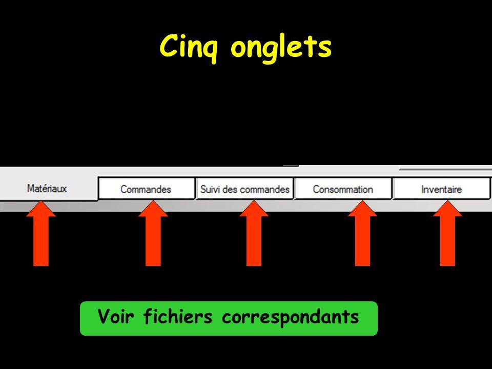 Cinq onglets Voir fichiers correspondants