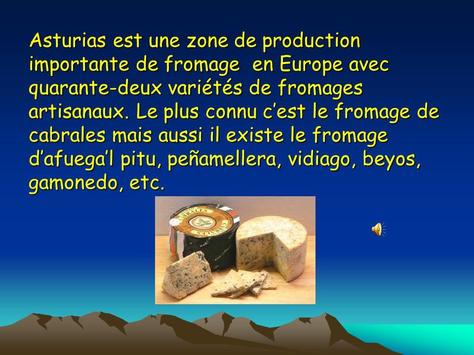 Asturias est une zone de production importante de fromage en Europe avec quarante-deux variétés de fromages artisanaux.