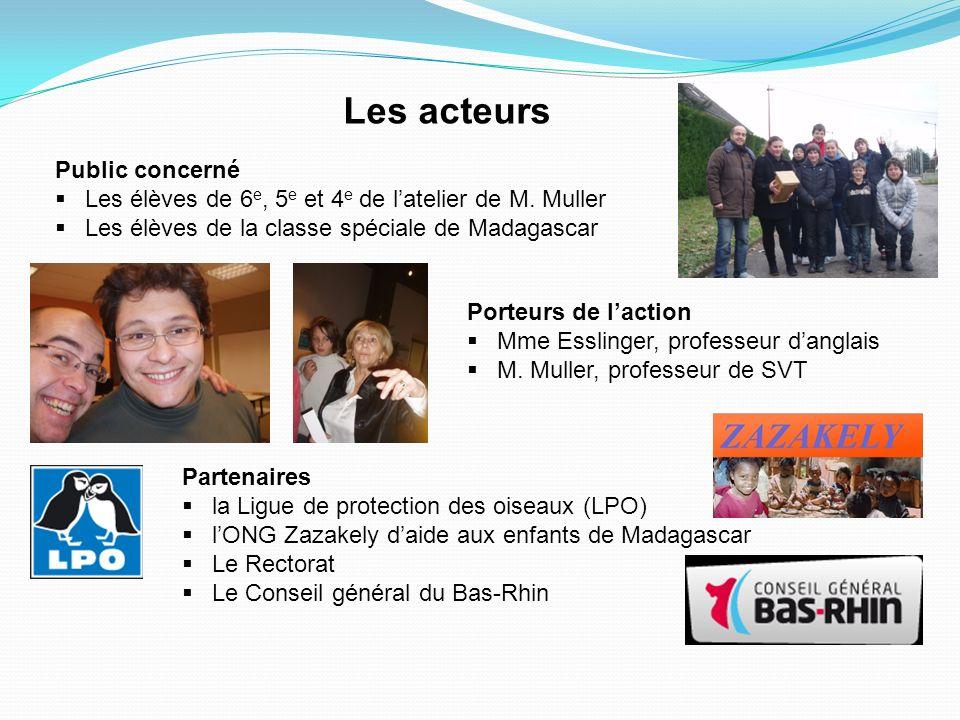 Les acteurs Public concerné Les élèves de 6 e, 5 e et 4 e de latelier de M. Muller Les élèves de la classe spéciale de Madagascar Porteurs de laction