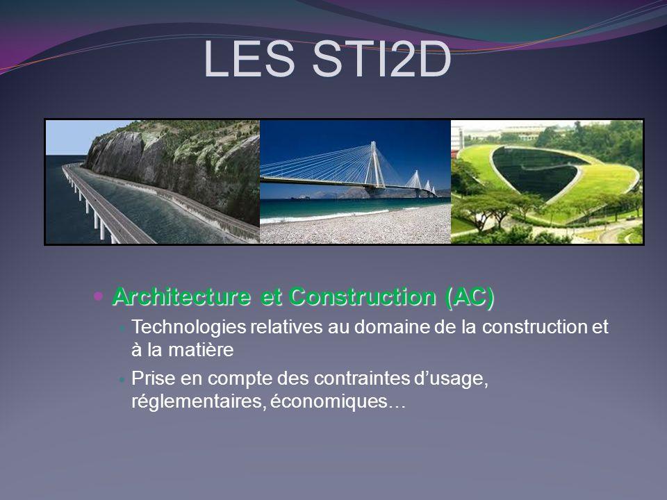 LES STI2D Architecture et Construction (AC) Technologies relatives au domaine de la construction et à la matière Prise en compte des contraintes dusag
