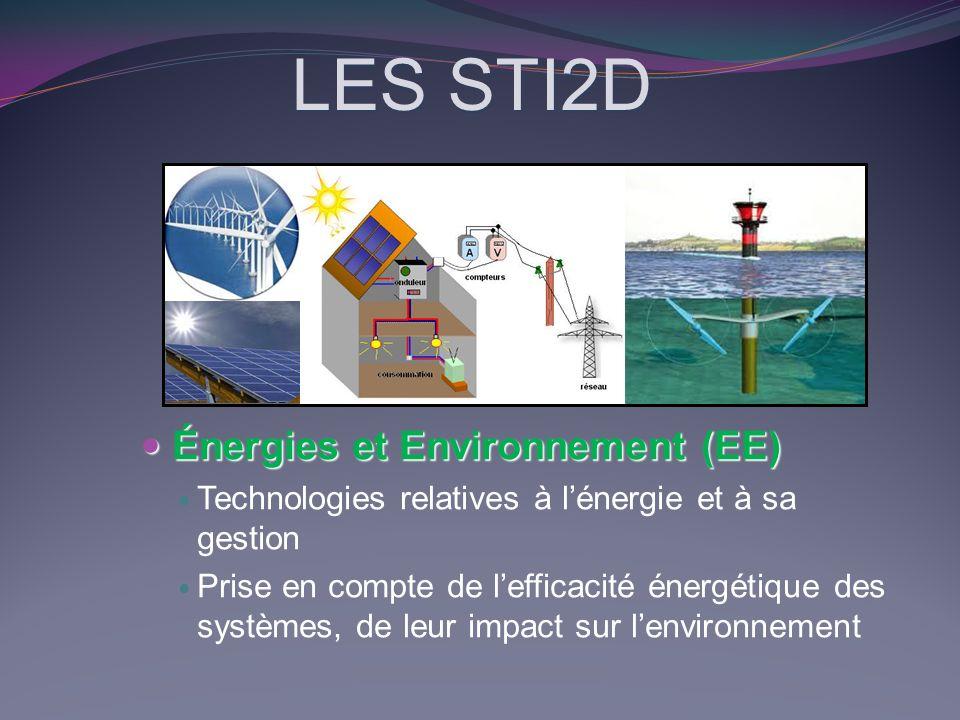 LES STI2D Énergies et Environnement (EE) Énergies et Environnement (EE) Technologies relatives à lénergie et à sa gestion Prise en compte de lefficaci