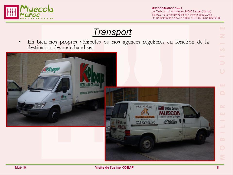 Transport 8 MUECOB MAROC S.a.r.l. Lot Tarik, Nº 12, Ain Hayani 90000 Tanger (Maroc) Tel/Fax: +212 (0) 539 93 65 76 www.muecob.com I.F. Nº 40149934 / R