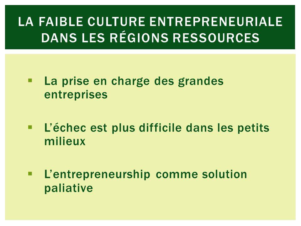 La prise en charge des grandes entreprises Léchec est plus difficile dans les petits milieux Lentrepreneurship comme solution paliative LA FAIBLE CULTURE ENTREPRENEURIALE DANS LES RÉGIONS RESSOURCES