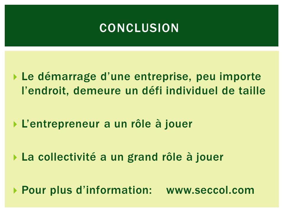 CONCLUSION Le démarrage dune entreprise, peu importe lendroit, demeure un défi individuel de taille Lentrepreneur a un rôle à jouer La collectivité a un grand rôle à jouer Pour plus dinformation: www.seccol.com