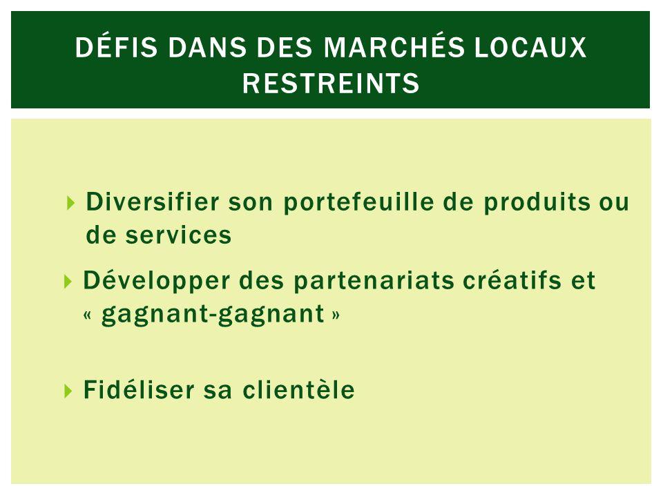 Diversifier son portefeuille de produits ou de services Développer des partenariats créatifs et « gagnant-gagnant » Fidéliser sa clientèle DÉFIS DANS DES MARCHÉS LOCAUX RESTREINTS