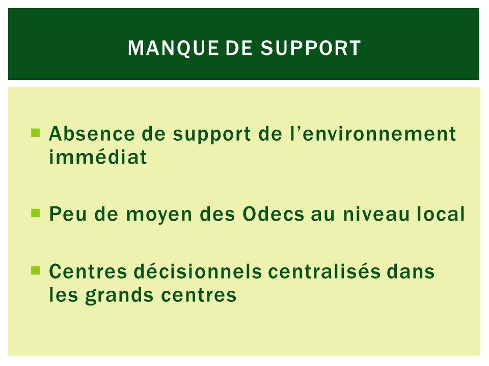 Absence de support de lenvironnement immédiat Peu de moyen des Odecs au niveau local Centres décisionnels centralisés dans les grands centres MANQUE DE SUPPORT