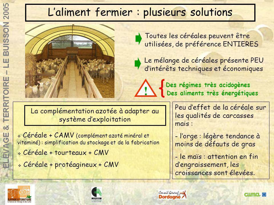 Agneaux de bergerie : réussir la finitionGlane, 14 / 12/ 2000 Laliment fermier : plusieurs solutions Des aliments très énergétiques Des régimes très a