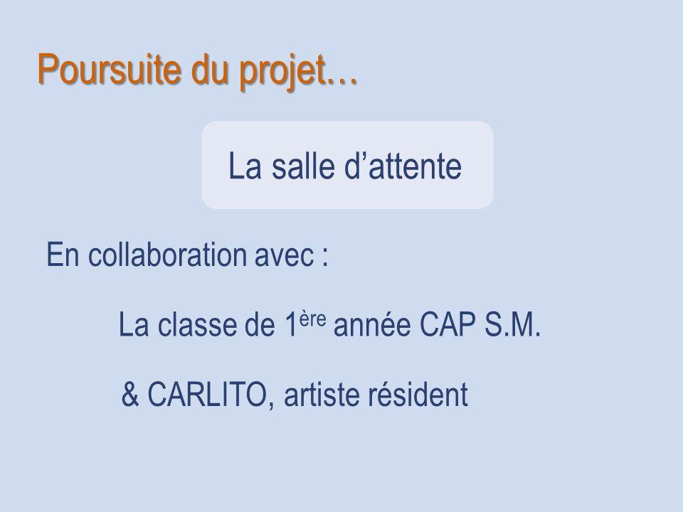 Poursuite du projet… En collaboration avec : La classe de 1 ère année CAP S.M. & CARLITO, artiste résident La salle dattente