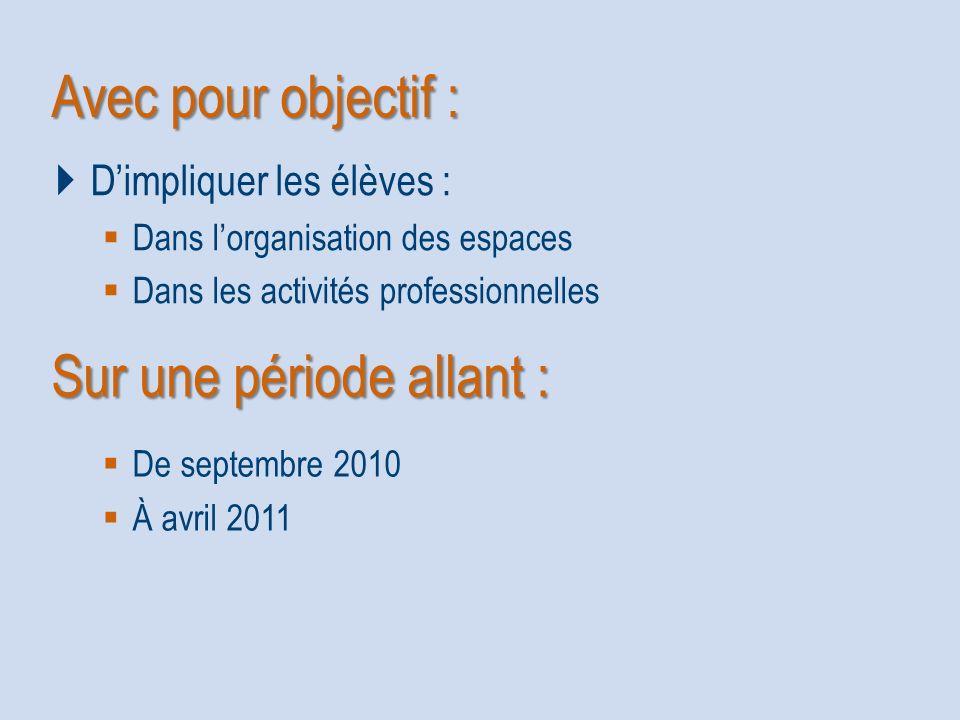 Avec pour objectif : Dimpliquer les élèves : Dans lorganisation des espaces Dans les activités professionnelles Sur une période allant : De septembre 2010 À avril 2011