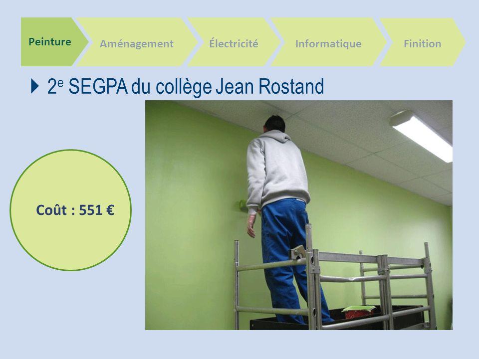 Peinture Aménagement 2 e SEGPA du collège Jean Rostand ÉlectricitéInformatique Finition Coût : 551