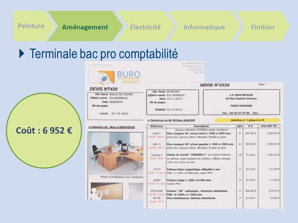 Peinture Aménagement Terminale bac pro comptabilité ÉlectricitéInformatique Finition Coût : 6 952