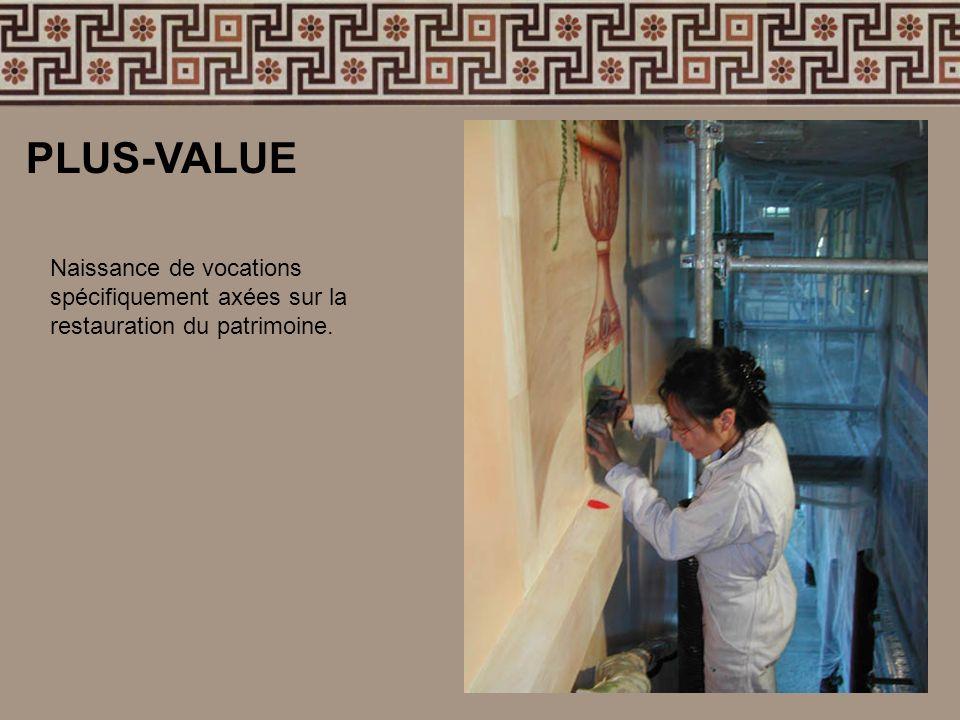 PLUS-VALUE Naissance de vocations spécifiquement axées sur la restauration du patrimoine.
