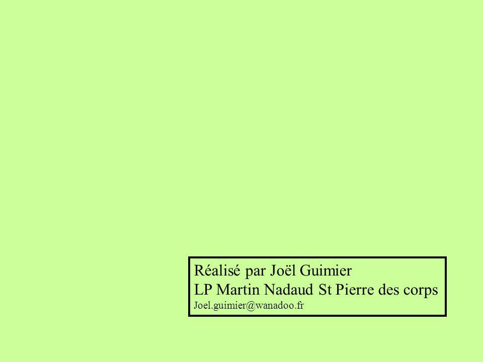 Réalisé par Joël Guimier LP Martin Nadaud St Pierre des corps Joel.guimier@wanadoo.fr
