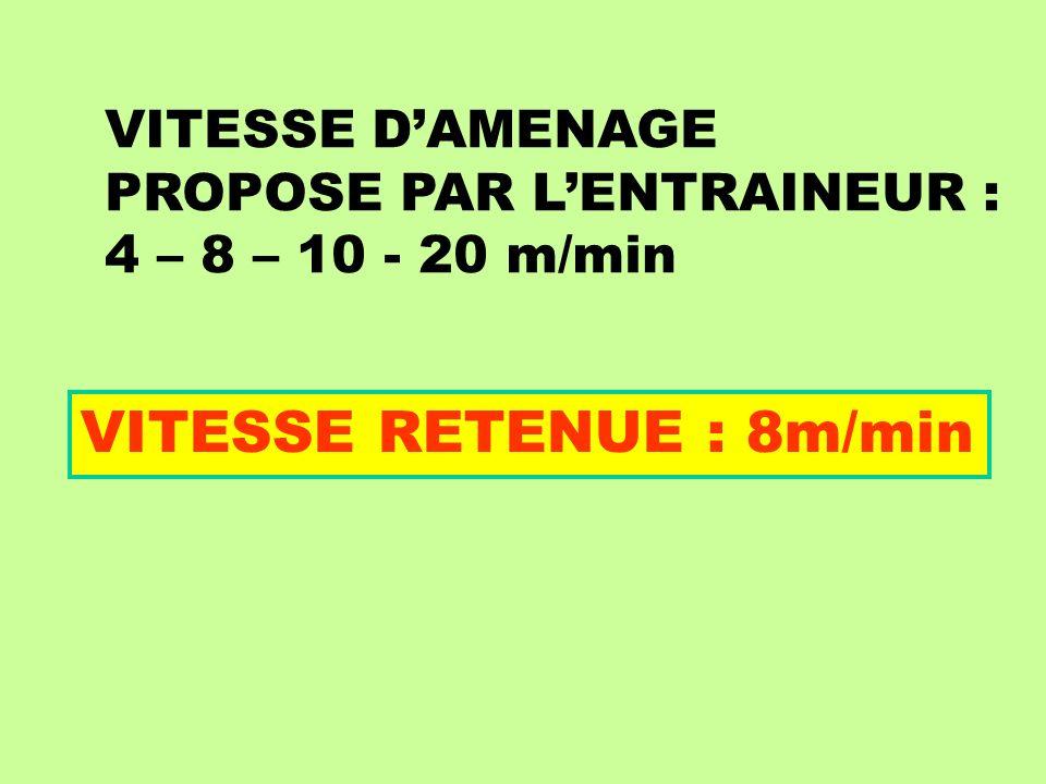 VITESSE DAMENAGE PROPOSE PAR LENTRAINEUR : 4 – 8 – 10 - 20 m/min VITESSE RETENUE : 8m/min