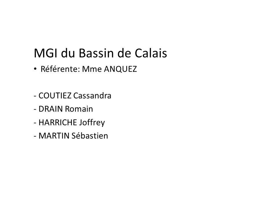 MGI du Bassin de Calais Référente: Mme ANQUEZ - COUTIEZ Cassandra - DRAIN Romain - HARRICHE Joffrey - MARTIN Sébastien