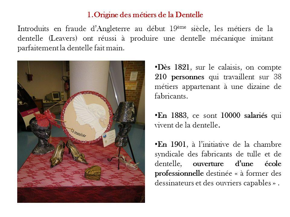 Introduits en fraude dAngleterre au début 19 ème siècle, les métiers de la dentelle (Leavers) ont réussi à produire une dentelle mécanique imitant parfaitement la dentelle fait main.