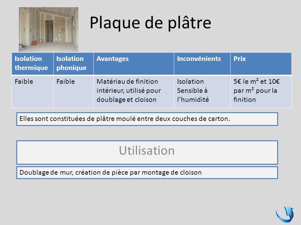 Plaque de plâtre Isolation thermique Isolation phonique AvantagesInconvénientsPrix Faible Matériau de finition intérieur, utilisé pour doublage et clo