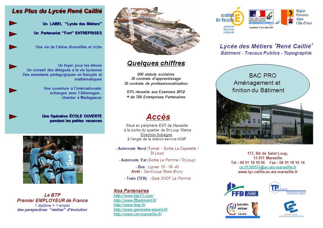 Lycée des Métiers René Caillié Bâtiment - Travaux Publics - Topographie 173, Bd de Saint Loup, 13 011 Marseille Tel : 04 91 18 10 06 Fax : 04 91 18 10