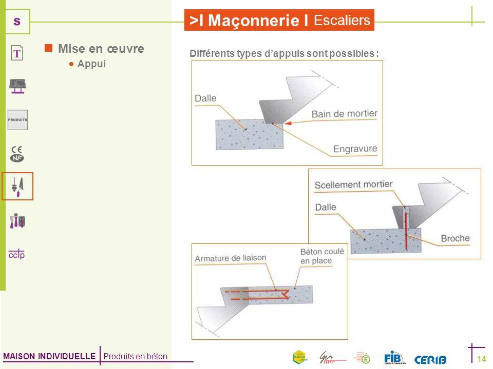 MAISON INDIVIDUELLE Produits en béton >I Maçonnerie I Escaliers 14 Mise en œuvre Appui Différents types dappuis sont possibles :