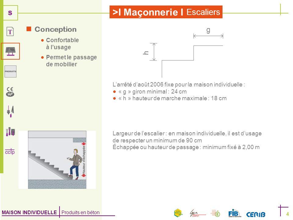 MAISON INDIVIDUELLE Produits en béton >I Maçonnerie I Escaliers 4 Conception Confortable à lusage Permet le passage de mobilier Largeur de lescalier :