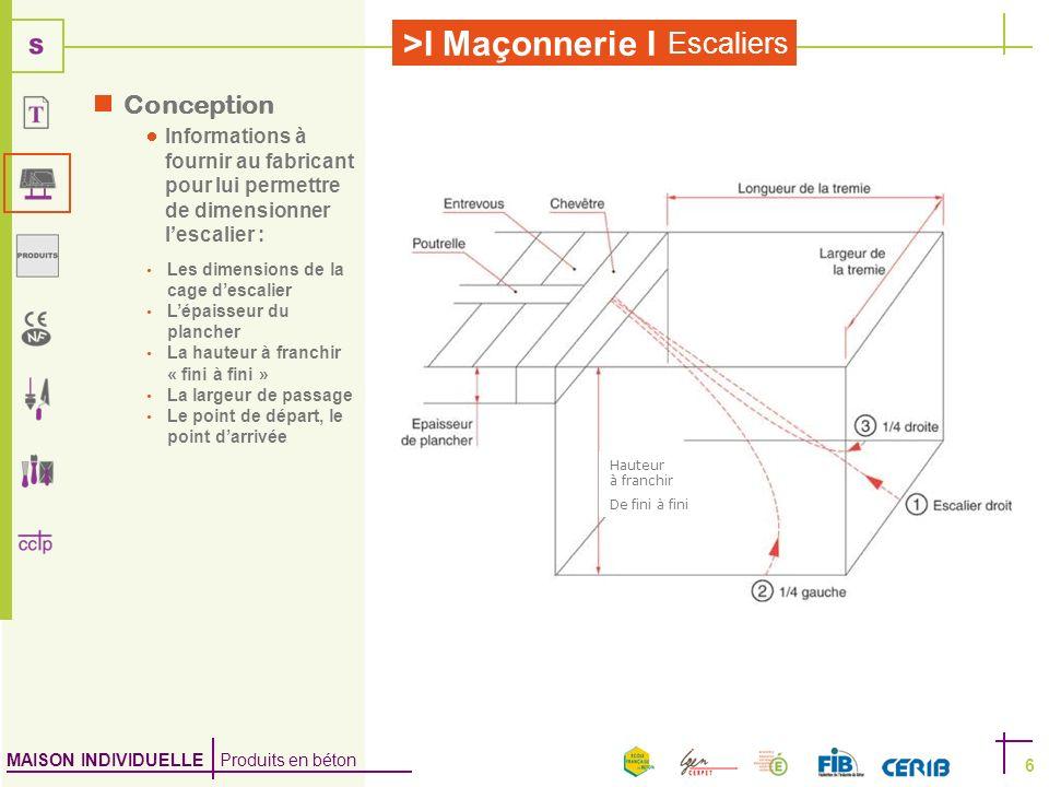 MAISON INDIVIDUELLE Produits en béton >I Maçonnerie I Escaliers 6 Conception Informations à fournir au fabricant pour lui permettre de dimensionner le