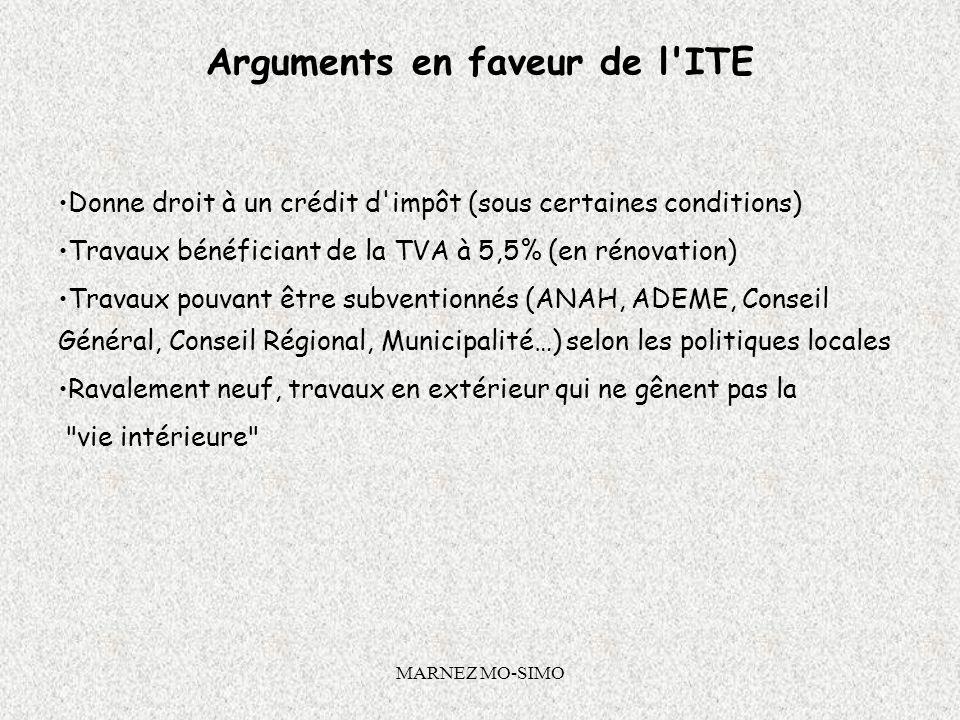MARNEZ MO-SIMO Crédit dimpôt de développement durable Le crédit d'impôt est accordé sur présentation de la facture de l'entreprise qui a posé l'ITE. C