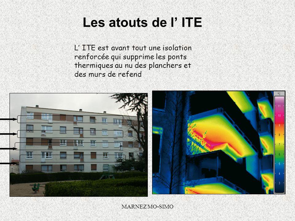 MARNEZ MO-SIMO Les atouts de l ITE Les atouts de lITE sont nombreux : Confort thermique été / hiver Nempiète pas sur la surface habitable Participe à