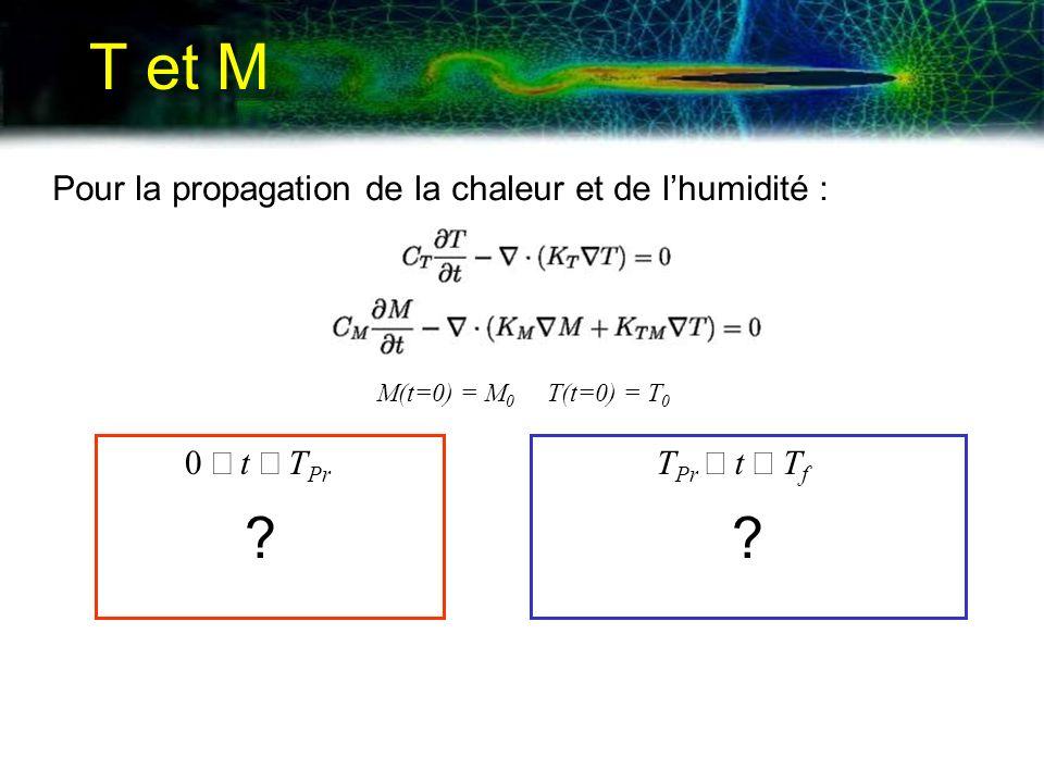 T et M Pour la propagation de la chaleur et de lhumidité : 0 t T Pr T Pr t T f M(t=0) = M 0 T(t=0) = T 0 ??