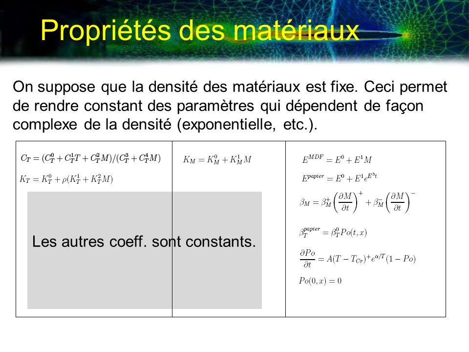 Propriétés des matériaux On suppose que la densité des matériaux est fixe. Ceci permet de rendre constant des paramètres qui dépendent de façon comple