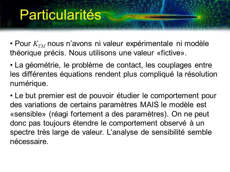 Particularités Pour K TM nous navons ni valeur expérimentale ni modèle théorique précis. Nous utilisons une valeur «fictive». La géométrie, le problèm