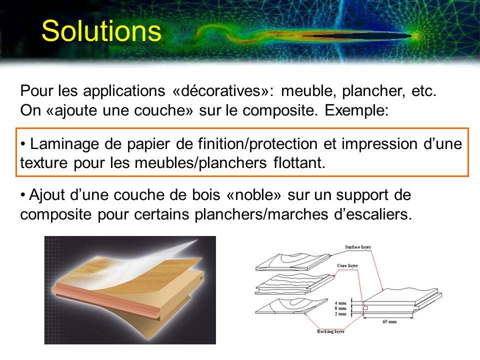 Solutions Pour les applications «décoratives»: meuble, plancher, etc. On «ajoute une couche» sur le composite. Exemple: Laminage de papier de finition